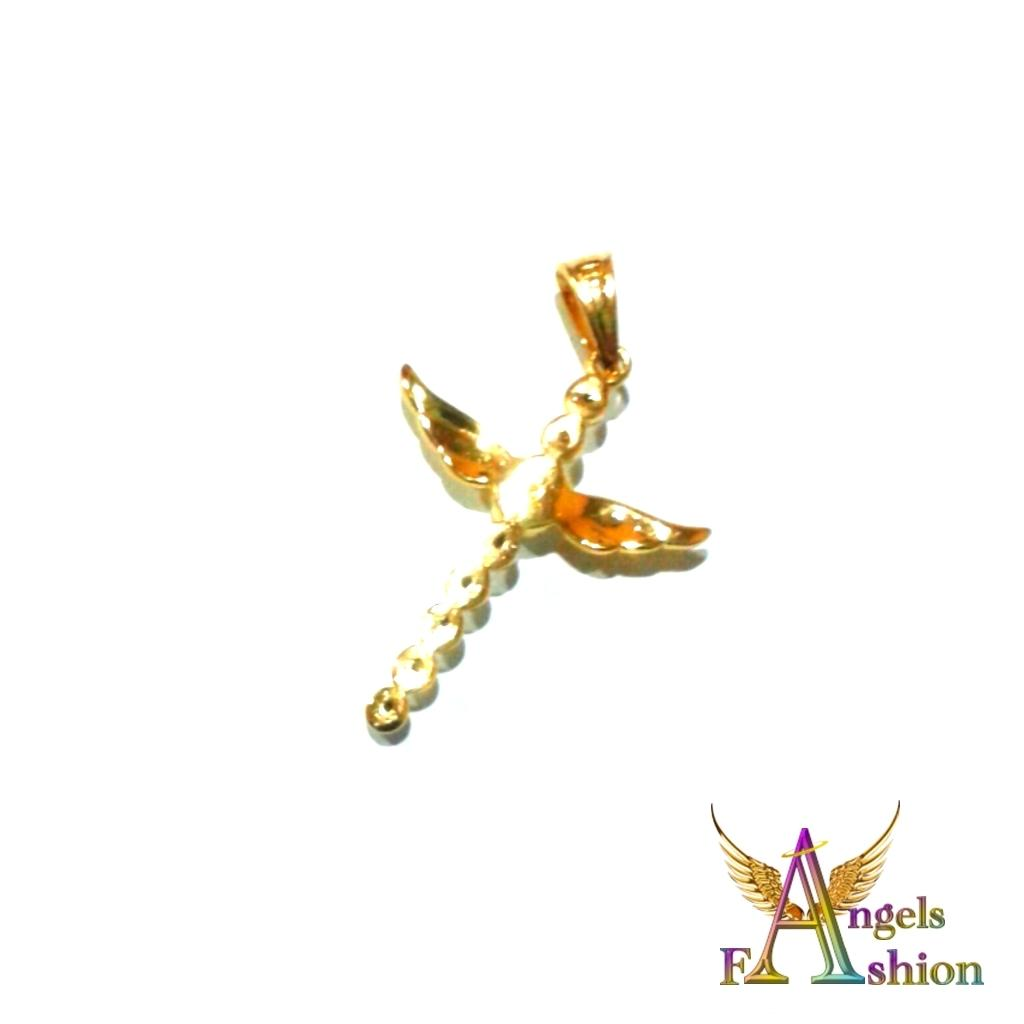 Women's Gold Plated White CZ Cross Wings Pendant