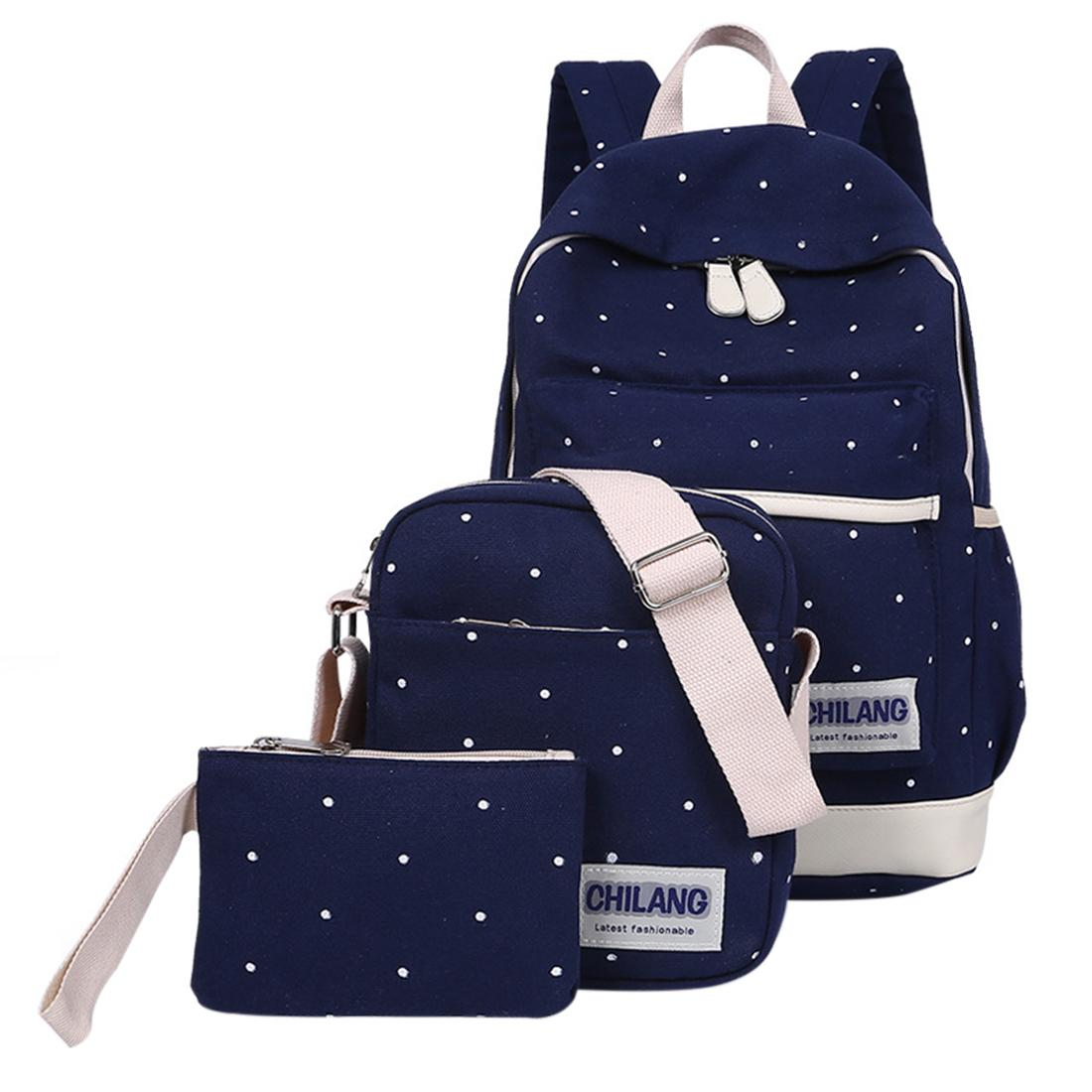 78a358ea42 3Pcs Korean Style Polka Dots Decoration Canvas Backpack Crossbody Bag  Clutch Bag Set - Dark Blue