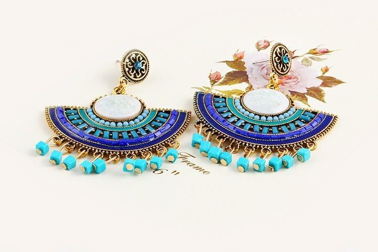 Women's Beads Blue Earrings