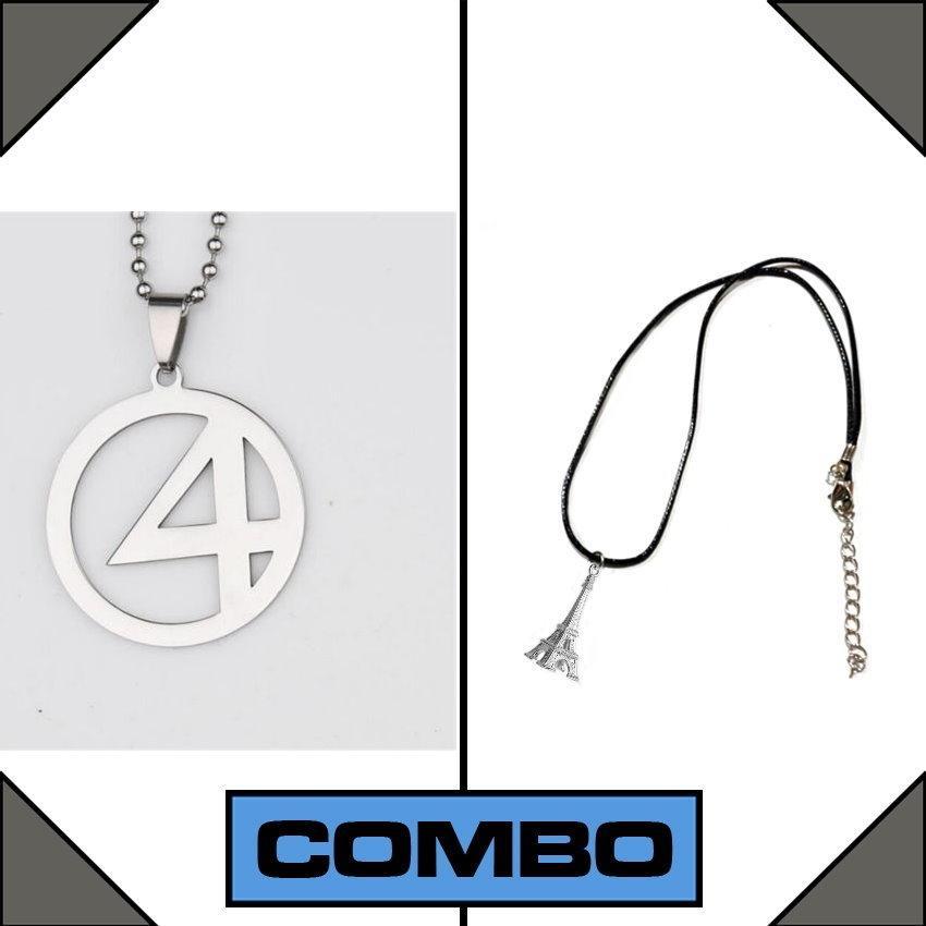 Men's Eiffel Tower necklace + Fantastic Four Necklace