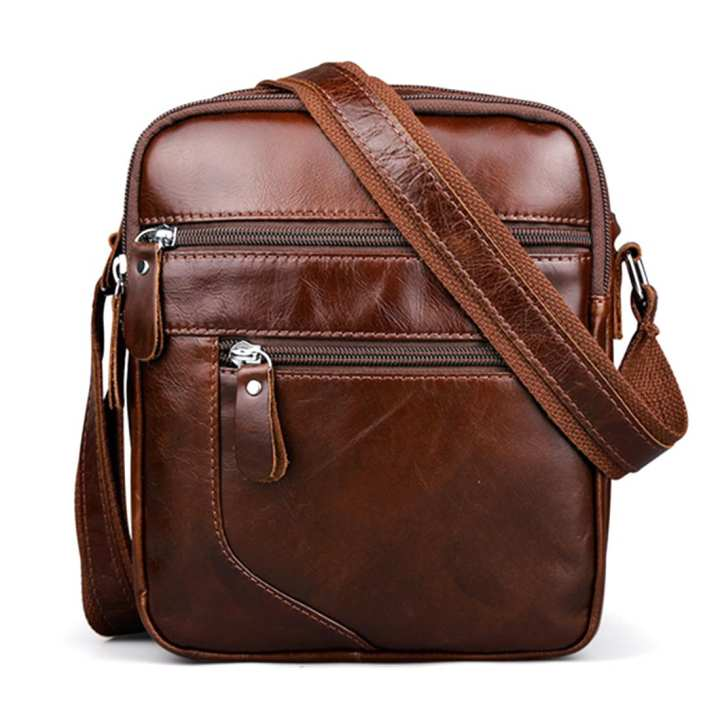 Fashion Retrol Style Genuine Leather Messenger Bag Small Single-shoulder Cross Body Bag - Brown