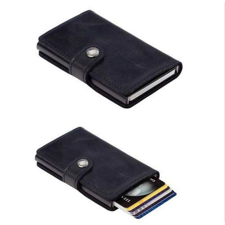 Genuine Leather Aluminium Card Bag For Women Men - Black