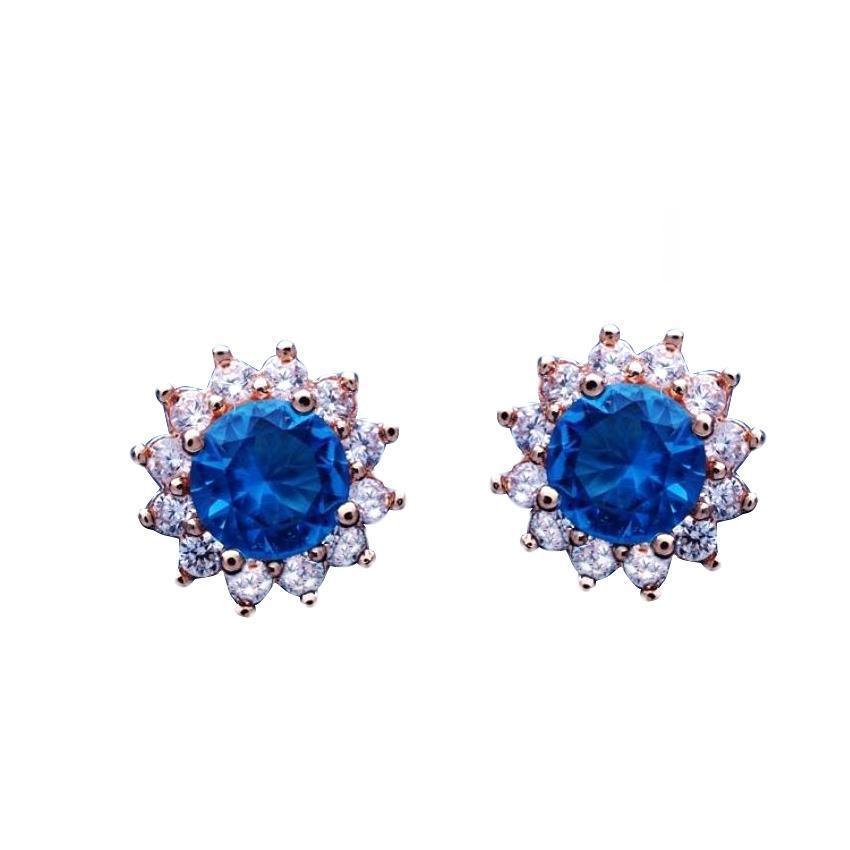 Women's Gold Plated Sky Blue & White Stud Earrings