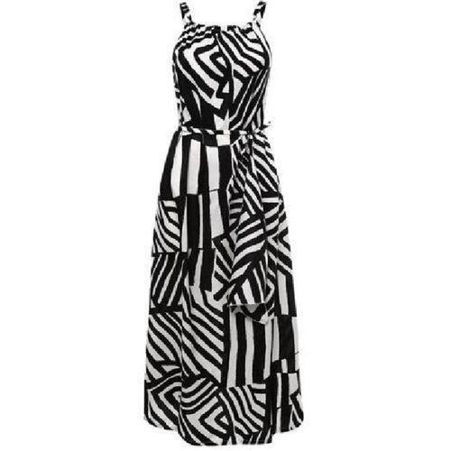 Bluelife Boho Sleeveless Geometric Print Dress - Black & White
