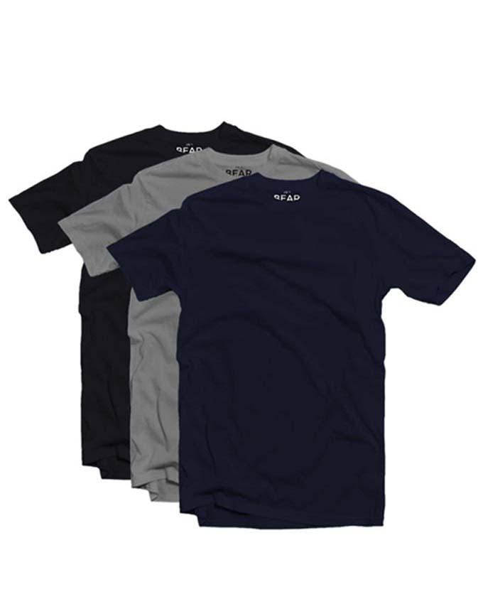 Bear Appeal Crew Neck T-shirts - 3 Pack - Navy