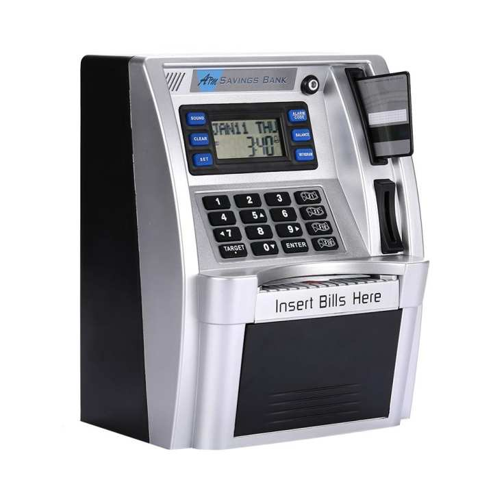 ATM Saving Banks ATM Piggy Bank Premium Silver with LCD Screen Calculator Children ATM Money Boxes Voice Prompt Password Box