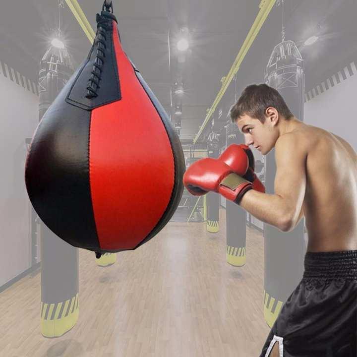 Boxing Pear Shape PU Speed Ball, Swivel Punching Exercise Speedball Speed Bag, Punch Fitness Training Ball Burgundy
