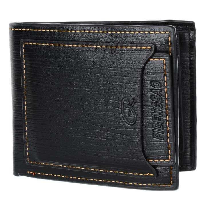 A609-1 Genuine Cowhide Leather Wallet - Black