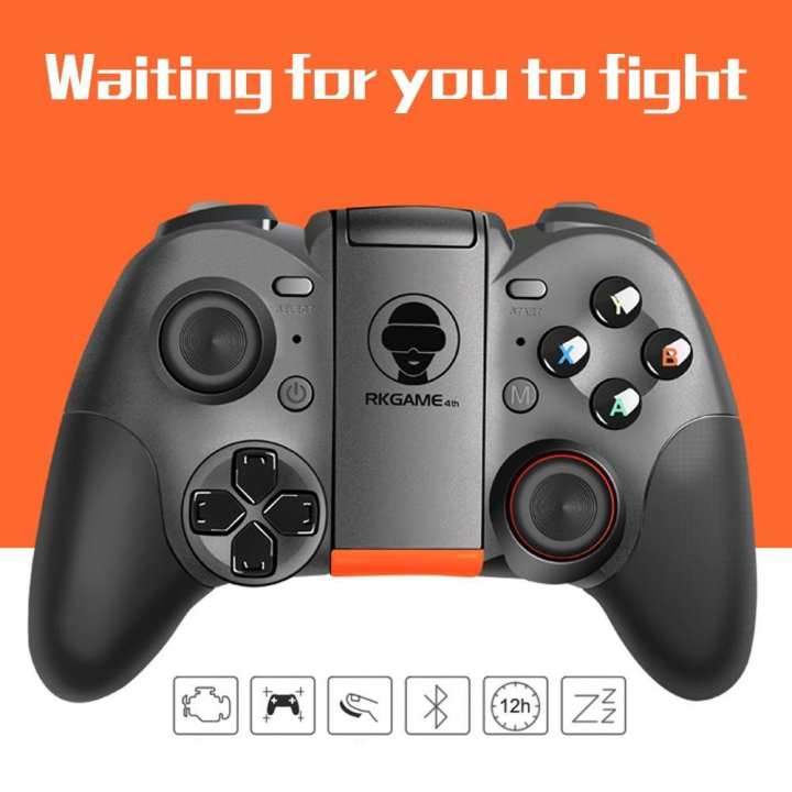 RK GAME 4th Bluetooth Wireless Game Handle, Remote Gampad Game Controller Joystick For Android IOS PC Black