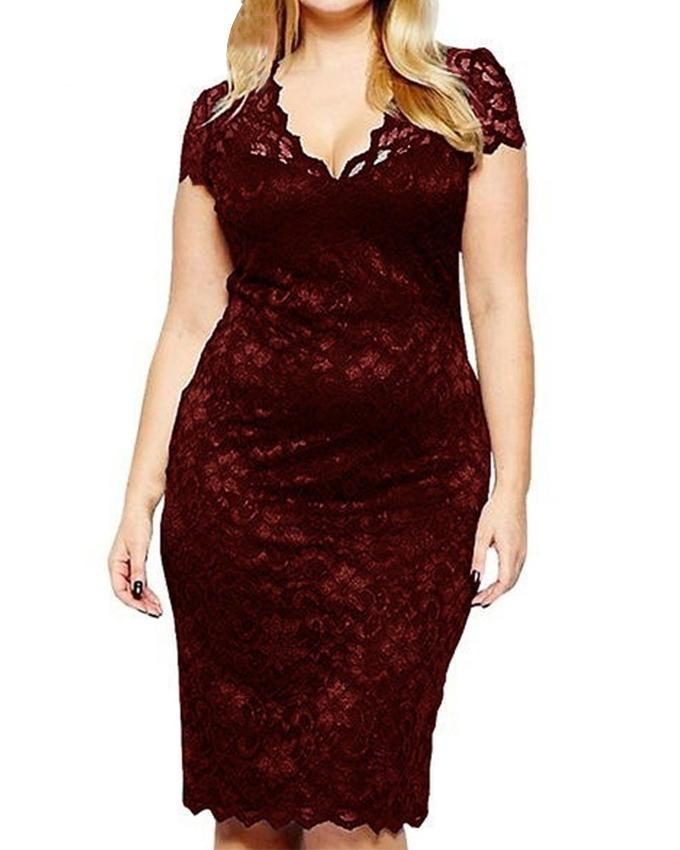 Women Hollow Out V Neck Lace Dress Slim Fit Plus Size Midi Dresses