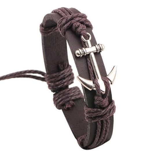 Men's Brown Leather Anchor Bangle Bracelet