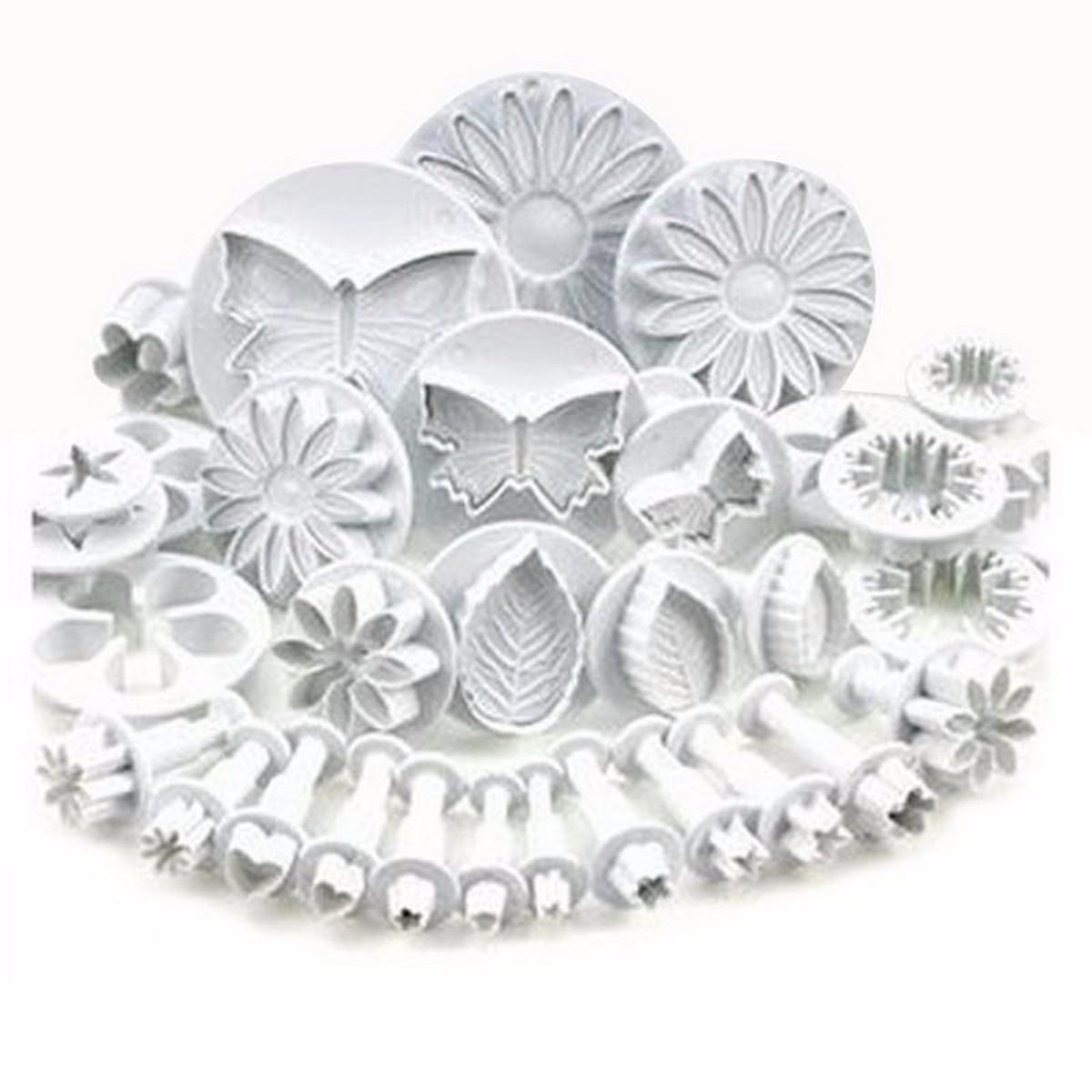 33Pcs/Set Sugarcraft Cake Decorating Fondant Plunger Cutters, Cookie Biscuit Cake Mold Baking Tool Accessories White
