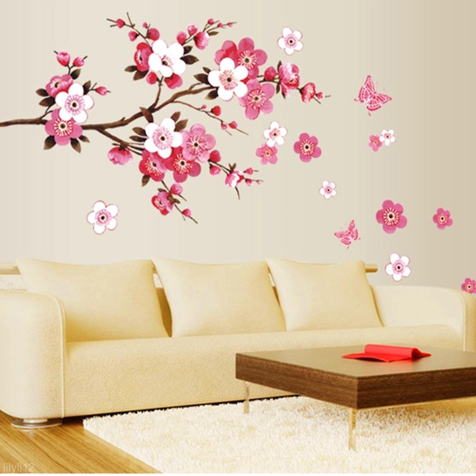 Pink Flower Butterfly Wall Sticker