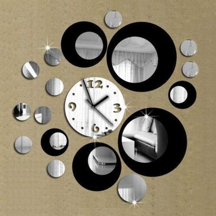 3D Acrylic Wall Clock And Mirror Wall Sticker - Silver & Black