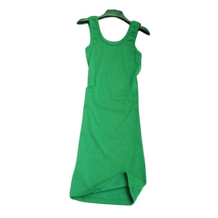 Women's Green Sleeveless Vest Top - WDE1066