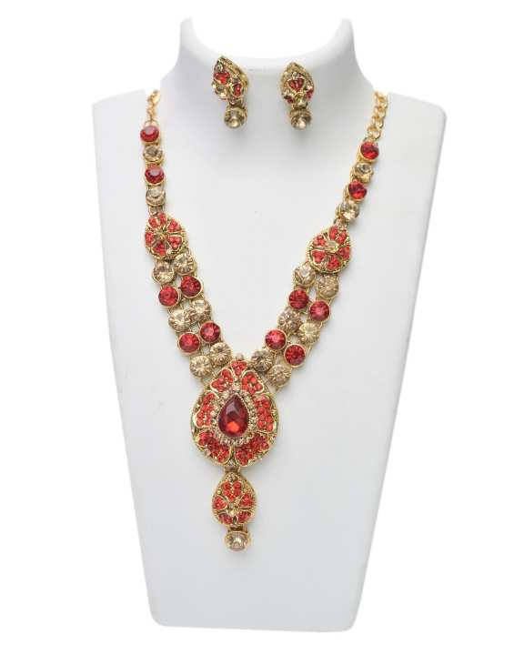 Women's Gold and Red Necklace Set With Stones