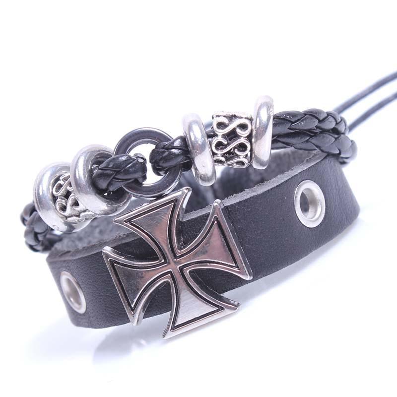 Men's Black Leather Bracelet