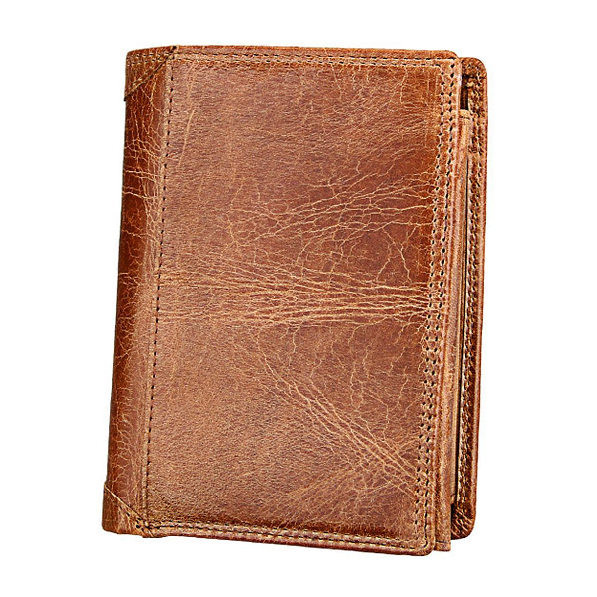 Folding Short Style Anti-Theft Anti-RFID Men's Leather Wallet Purse - Brown