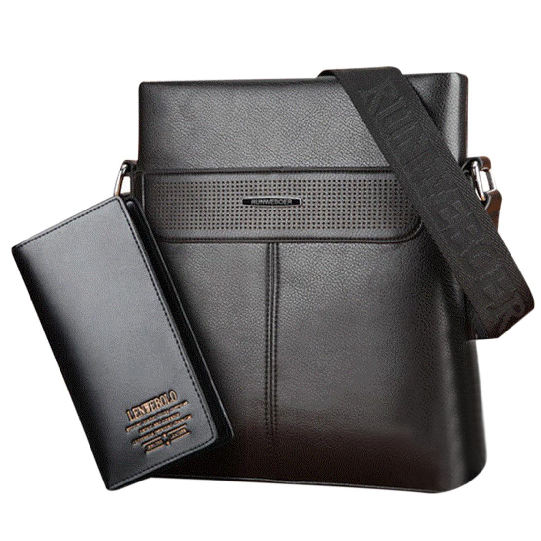 Two-piece Suit Fashion Male Messenger Bag Business Leisure Leather Bag with High-end Billfold - Black