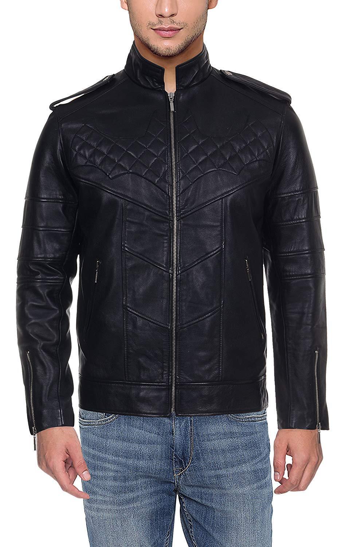 4a168c02d59 HiLEDER Men s Fashion 100% Pure Genuine Sheep Leather Batman Biker Jacket  Regular fit