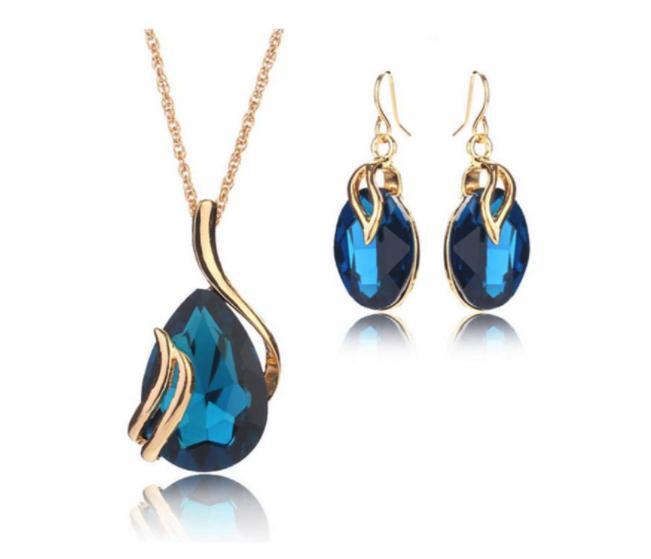 Blue Crystal Water Tear Drop Jewelry Set