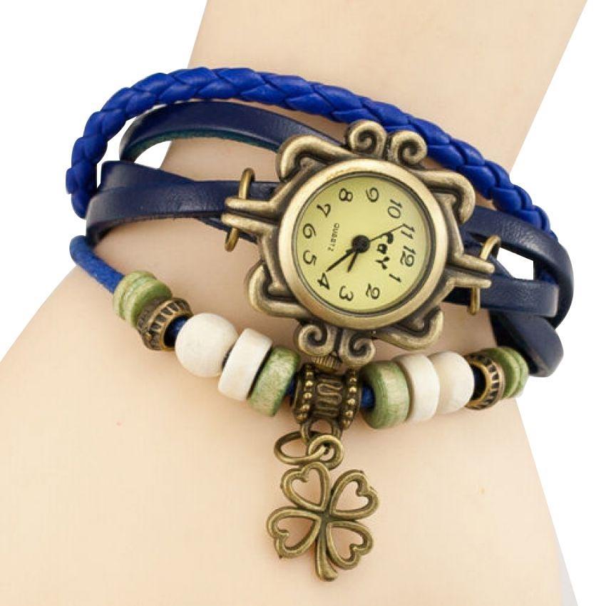 Women's Blue Bracelet Leather Watch