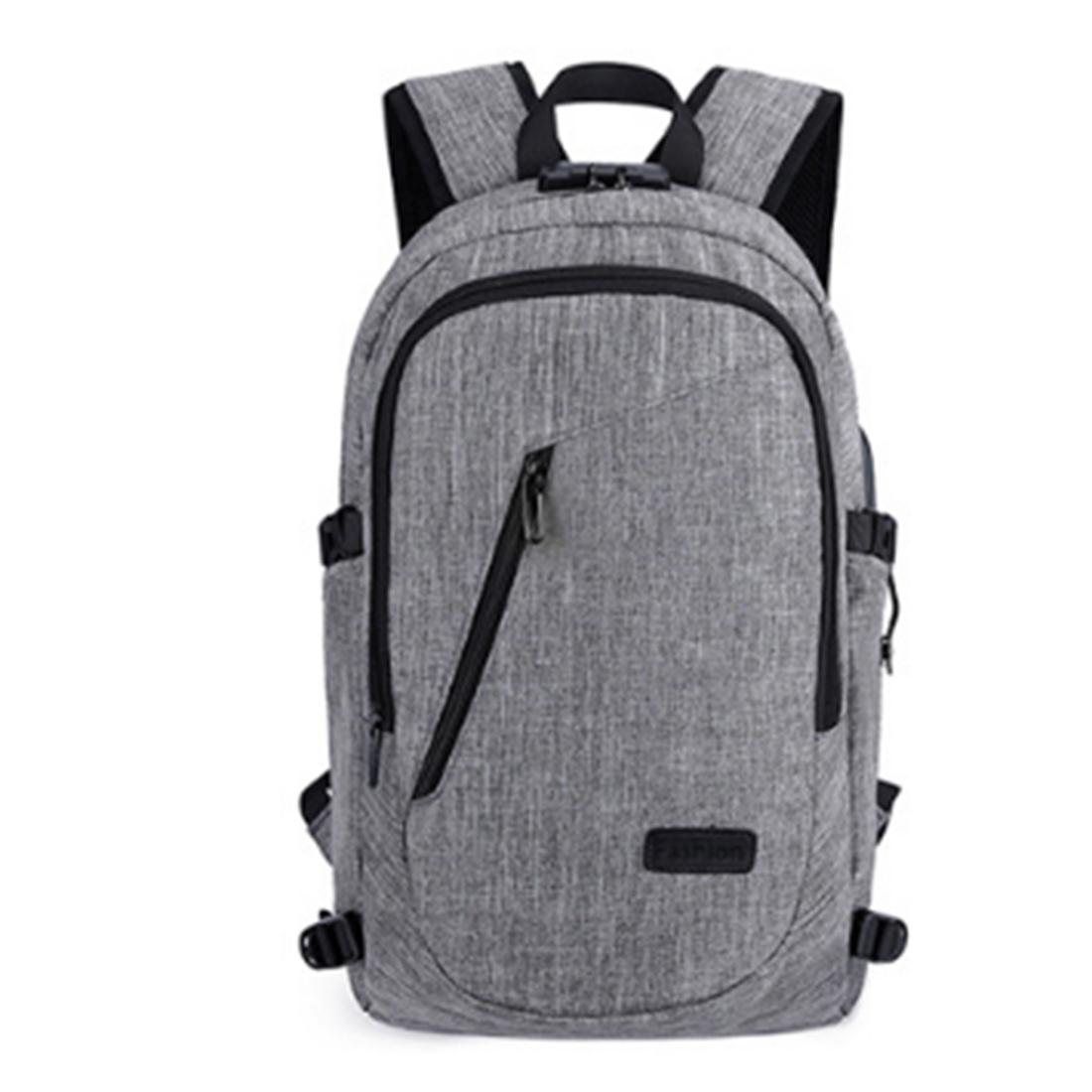 Male Oxford Cloth Backpack Big Capacity Outdoor Travel Business Bag with USB Charging Port - Grey