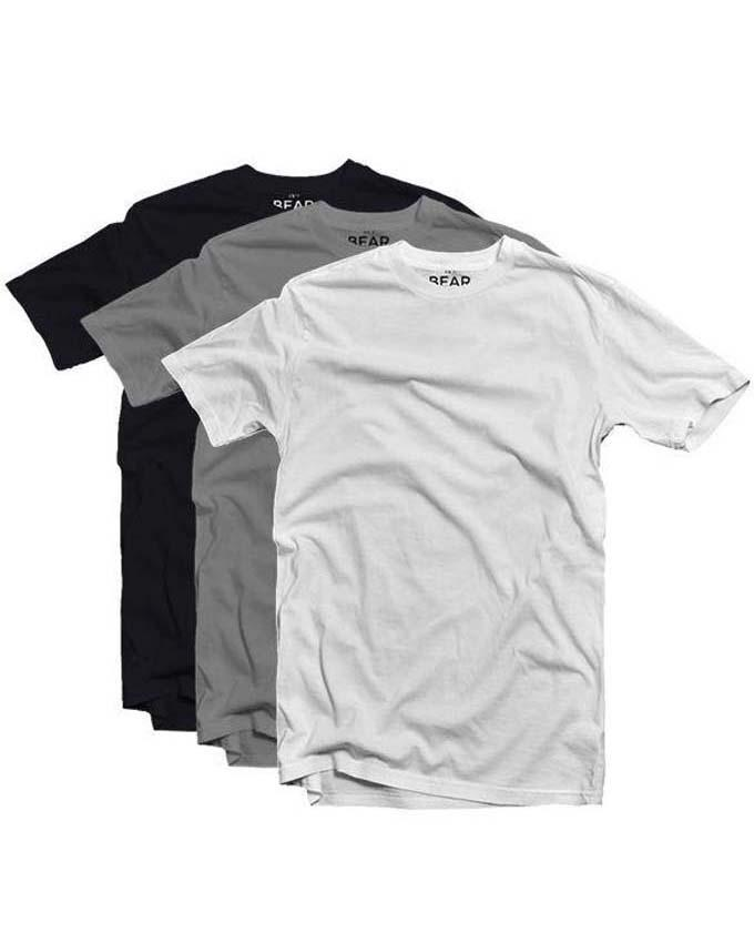 Bear Appeal Crew Neck T-shirts - 3 Pack - Monochrome