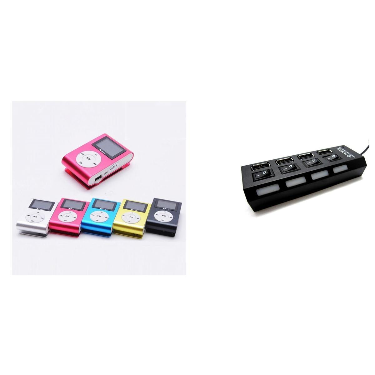 Combo Of Pink Usb Mini Clip Mp3 Player + 4 Port USB Hub
