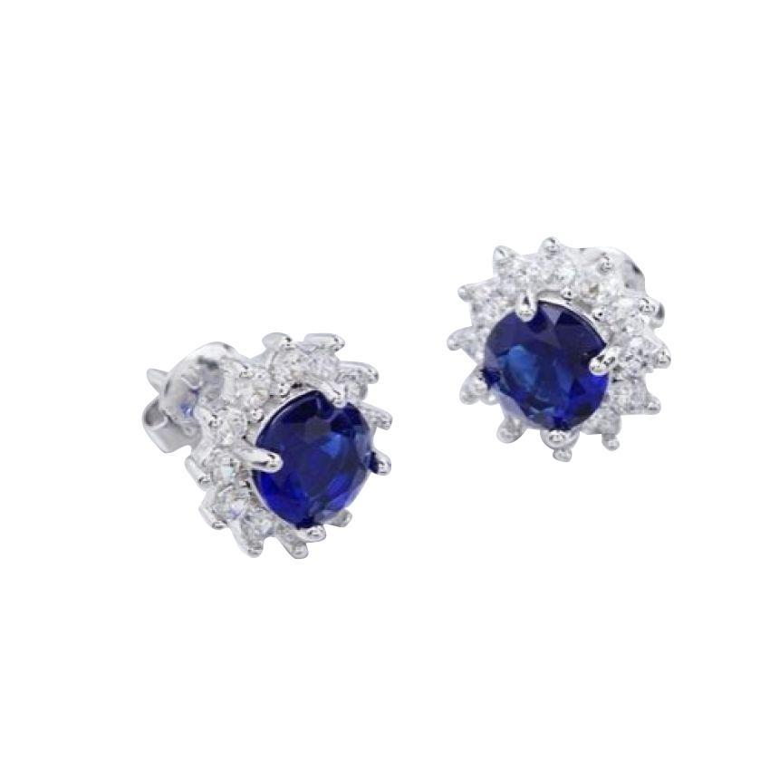 Women's Gold Plated Blue Design Earrings