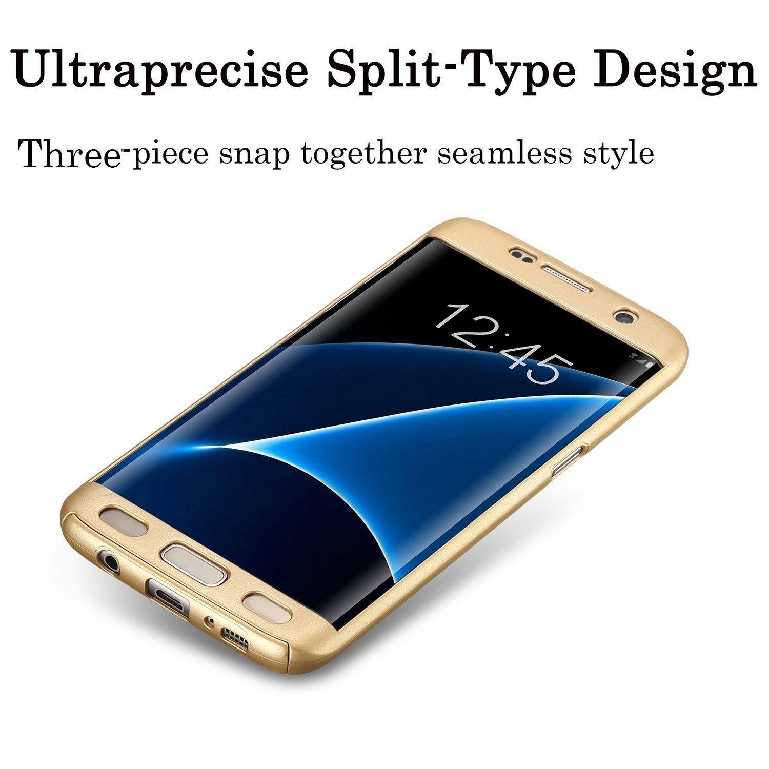 360 Protection Cover 9H Tempered Glass For Samsung J7 Prime - Gold