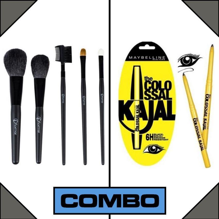 Combo of Maybelline Kajal + 5 Makeup Brushes