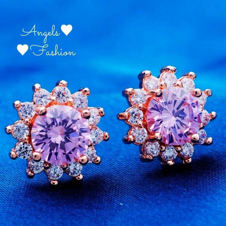 18K Rose Gold Plated Pink CZ Flower Earrings