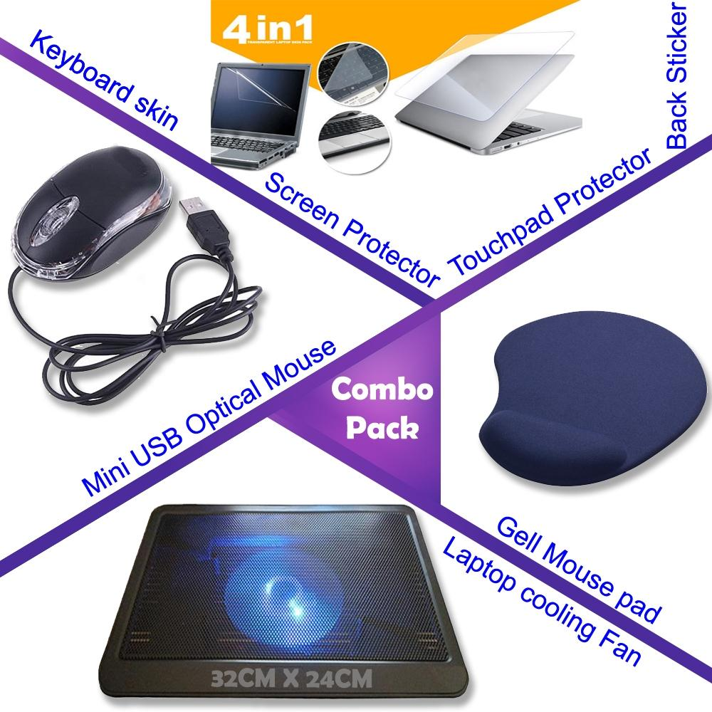 Combo of Mini USB Optical Mouse + Gell Mouse Pad + Laptop Cooling Fan + Screen Protector