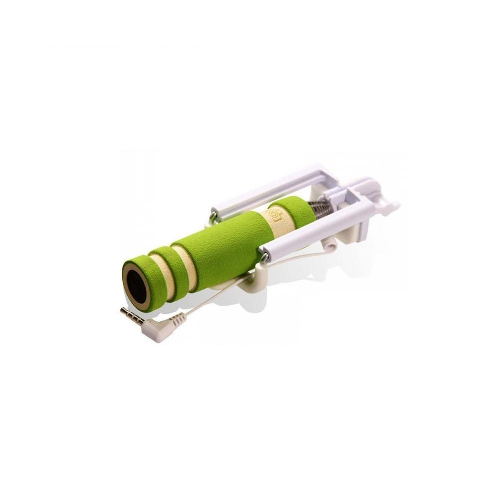 Green Mini Extendable Wired Selfie Stick