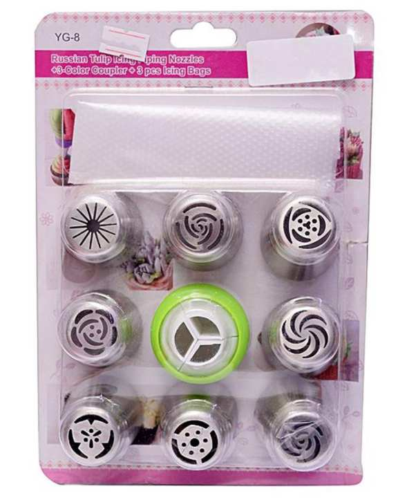 8 Pieces Russian Nozzles Set With Silicone Bag - Silver