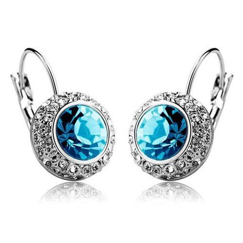 Women's Silver Plated Round Moon Earrings - Blue