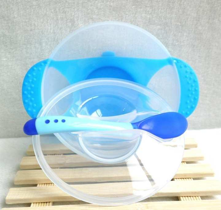 Baby Learning Feeding Suction Base Bowl with Lid And Spoon