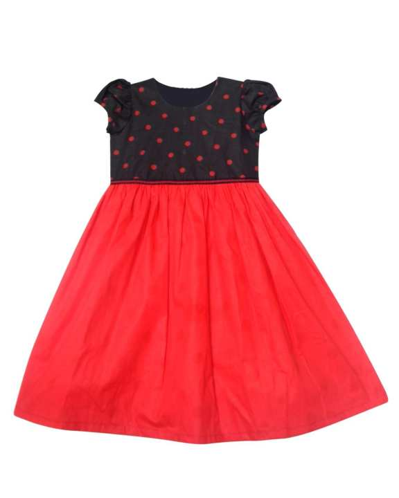 Red And Black Puffed Sleeve Frock