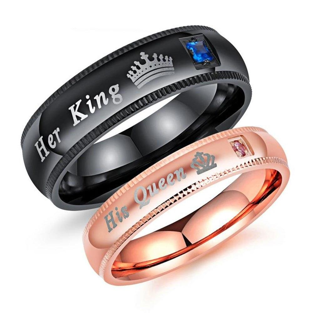 2c0b03a75c His Queen Her King With CZ Stone Stainless Steel Couple Rings