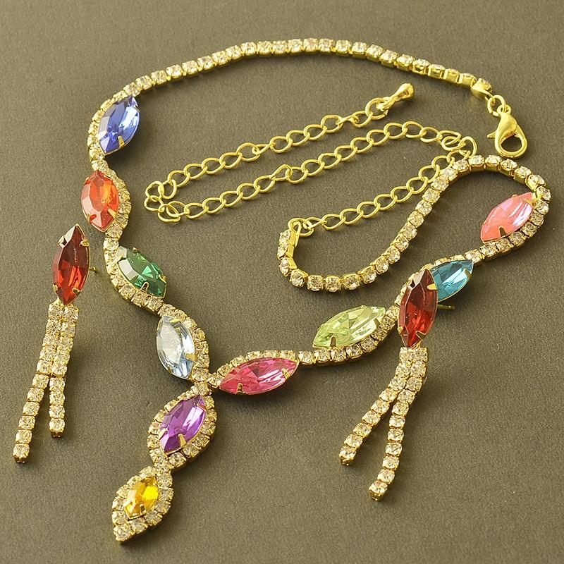 18K Yellow Gold Plated Swarovski Crystal Multi-Color Jewelry Set