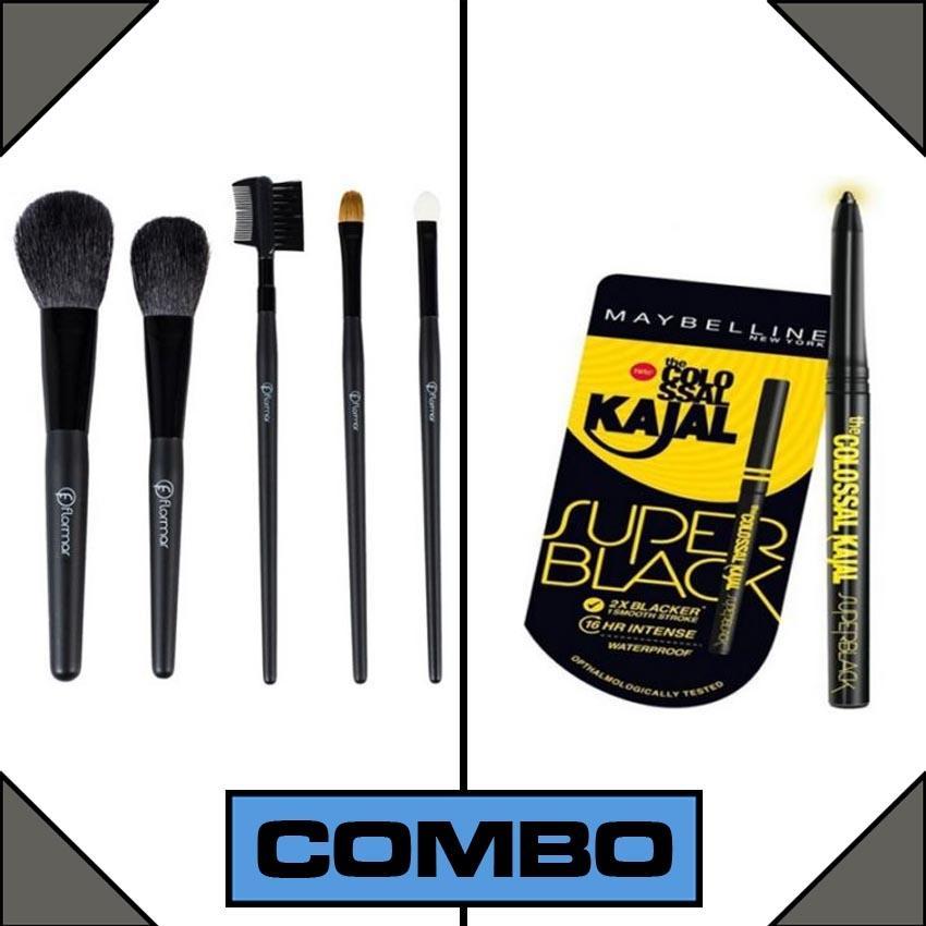 Combo of Colossal Kajal + 5 Makeup Brushes