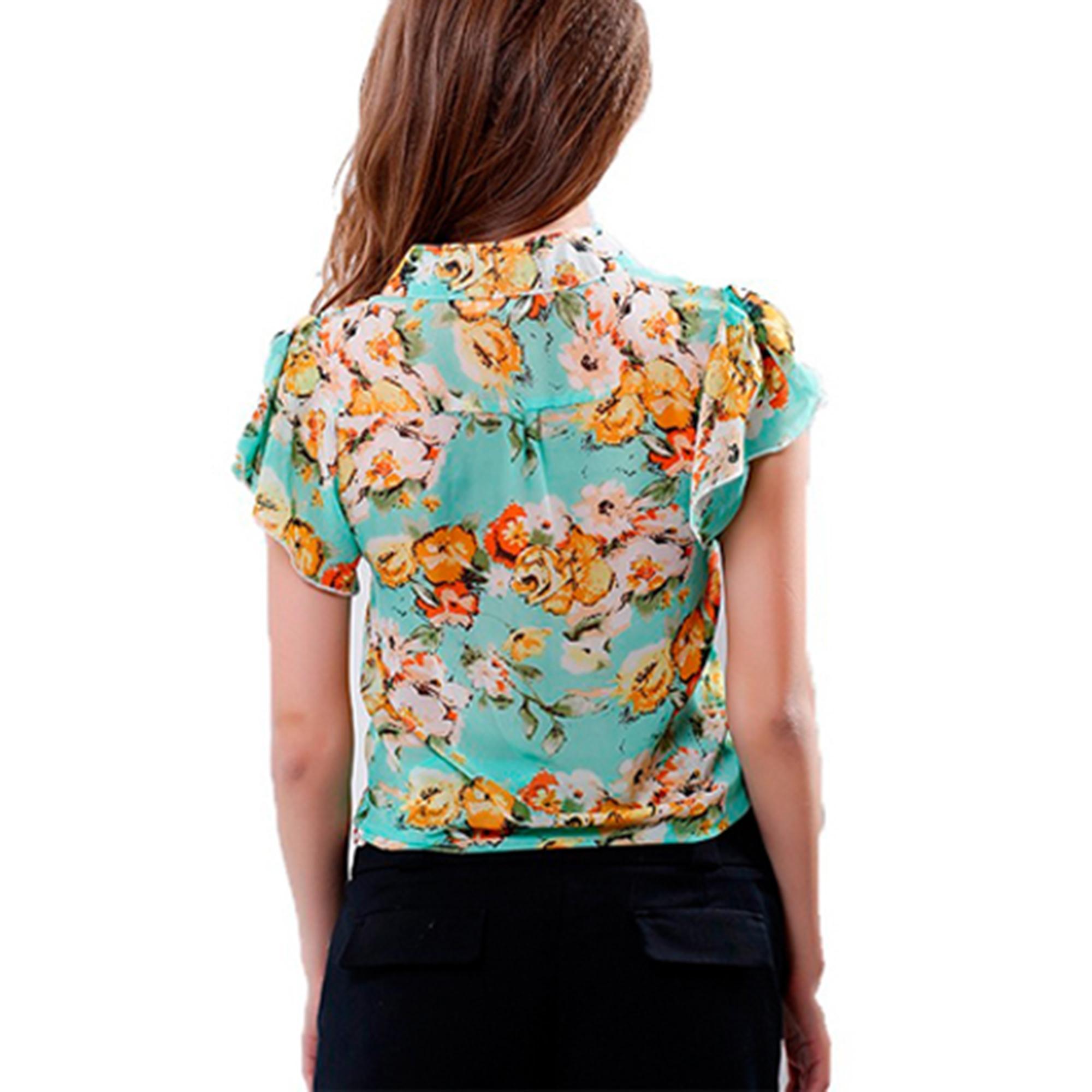 Short Sleeve Chiffon Blouse For Women's