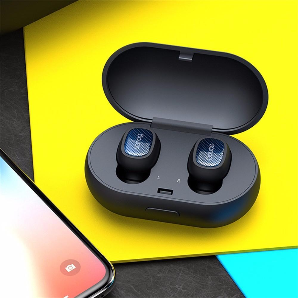 T3 Mini Invisible Bluetooth Wireless Earbuds Earpiece Earphone, HiFi Stereo Headset With Charging Box For Sports Running Blue