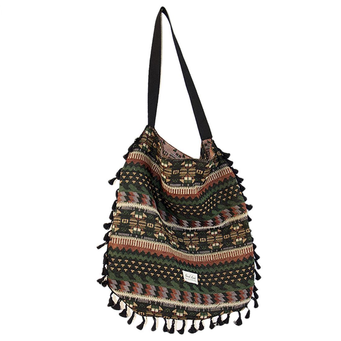 Retro Style Cotton Linen Bag Single-shoulder Bag with Tassel 1912a49d8a651