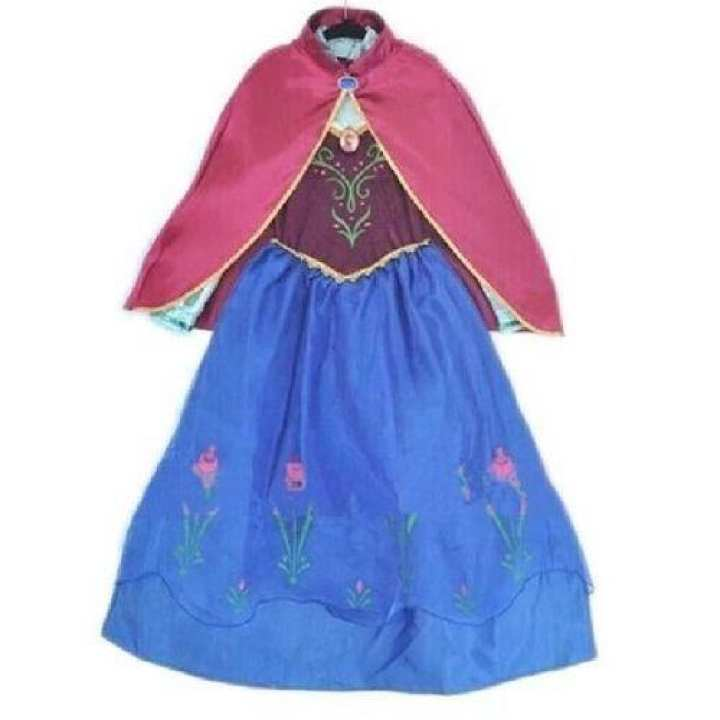 Role Play Costume Long Sleeve Dress For Snow Queen - Blue & Red