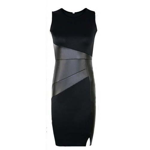 Slim Patchwork Leather Pencil Dress