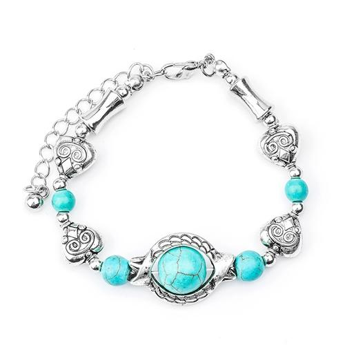 Women's Silver Plated Natural Stone Bracelet