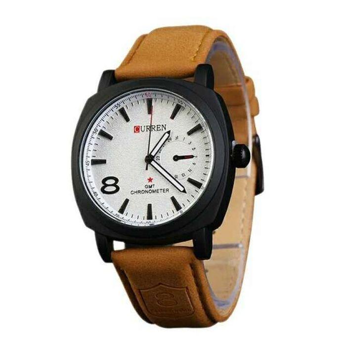 Men's White Dial Analog Wrist Watch