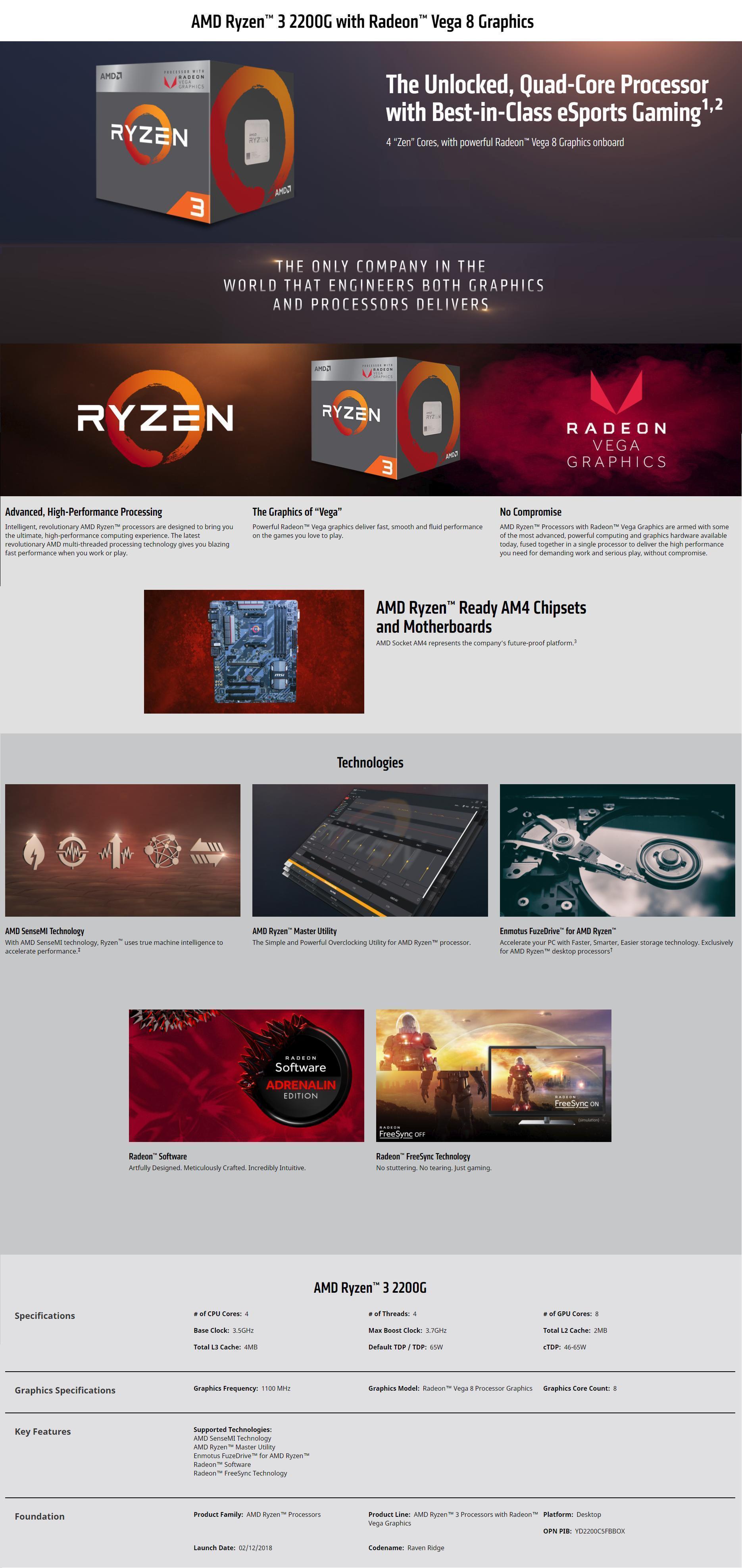 Product details of AMD RYZEN 3 2200G PROCESSOR WITH RADEON VEGA 8 GRAPHICS